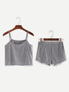 Pompom Trim Crop Cami Top With Shorts