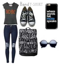 """""""Rock on!!"""" by haleydawn123455 ❤ liked on Polyvore featuring Converse, Casetify, bandtshirt and bandtee"""