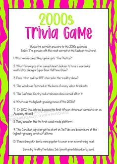 2000s Trivia Game Printable Virtual Girls Night Game Girls | Etsy