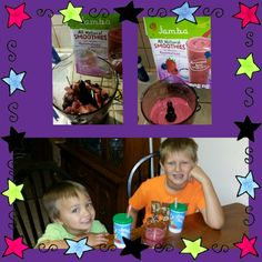 My boys trying our delicious @JambaAtHomeSmoothies we got complimentary from @Influenster.  Just add apple juice, blend, and enjoy. #SurfsUpVoxBox #influenster #JambaJuice #contest