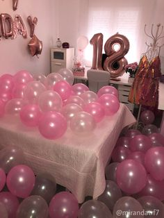 Happy birthdays💗 Event set up . Dm for ordering . 18th Birthday Party Ideas For Girls, Hotel Birthday Parties, 21st Bday Ideas, Happy Birthday 18th, Birthday Bash, Girl Birthday, Birthday Room Surprise, Hotel Party, Hotel Sleepover Party