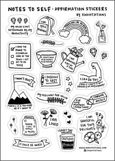 Affirmation sticker sheet for your planner, cell phone, laptop, or anywhere else for a little reminder that you're doing okay (even if it doesn't always feel that way) - and that it never hurts to show yourself a little extra care and affection ♥ Clear Stickers, Love Stickers, Diy Stickers, Sticker Ideas, Free Printable Stickers, Journal Stickers, Scrapbook Stickers, Planner Stickers, Black And White Stickers