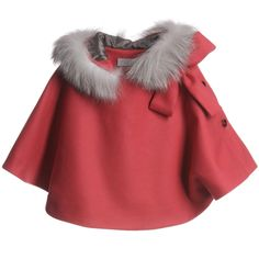 A beautiful rich salmon pink wool cape for the little princess in your life from Dior. It is made from a soft wool cashmere mix and has a hood with light grey real silver fox fur trim. #ReasonsINeedARichHusband