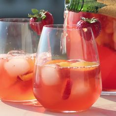 Strawberry Peach Sangria ... Replace the wine with sprite for those of us under eighteen ; D ...