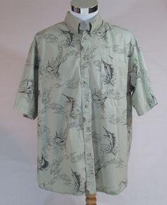 Columbia Sportswear Fish Print Button-Front-Short Sleeve Shirt XL 100% Cotton #ColumbiaSportswear #ButtonFront