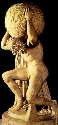 Atlas sosteniendo el mundo llevando el castigo impuesto por zeus cargar sobre sus hombros la tierra