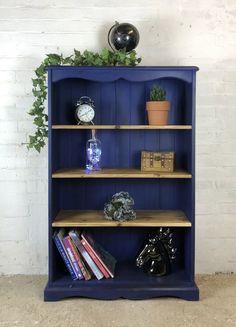 Blue Bookshelves, Pine Bookcase, Painted Bookshelves, Paint Bookshelf, Wooden Shelves, Refurbished Bookshelf, Refurbished Furniture, Painted Furniture, Bookcase Upcycle