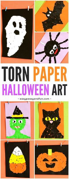 Halloween Torn Paper Art for kids! A fun way to create art this fall with kindergarten, first grade and second-grade kids! art grade 3 Halloween Torn Paper Art Ideas - Mosaic Collage Art - Easy Peasy and Fun Halloween Tags, Halloween Kunst, Halloween Art Projects, Link Halloween, Halloween Arts And Crafts, Fall Art Projects, Halloween Activities For Kids, Halloween Themes, Projects For Kids