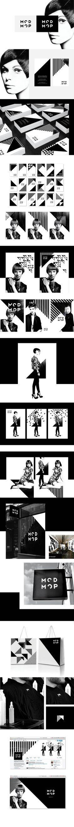 Alex Nereuta on Behance   hair salon logo & identity  https://www.behance.net/gallery/31569671/Modmop-Identity