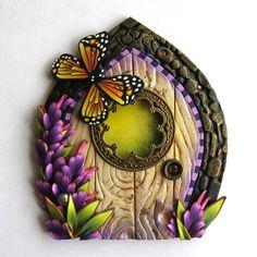 Monarch Butterfly Fairy Door, Fairy Garden Decor, Miniature Polymer Clay Door