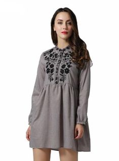 Vadim Women Vintage Floral Embroidery Pleated Dress Long Sleeve Casual Retro Female Mini Dresses – low-priced items from all over the world. Floral Sheath Dress, Mode Boho, Buy Dress, Pattern Fashion, Sexy, Floral Embroidery, Mini Dresses, Hot, Vintage Floral