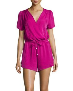 Short-Sleeve+Woven+Surplice+Romper,+Deep+Carnation+by+Philosophy+at+Neiman+Marcus+Last+Call.