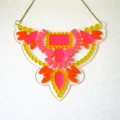 Pink Floating Bib Statement Necklace - Neon Mirror Transparent Clear Laser Cut Jewelry