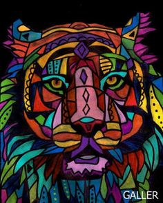 11x14 Tiger Art Modern Abstract Folk Pop Art Print Poster Painting Animal
