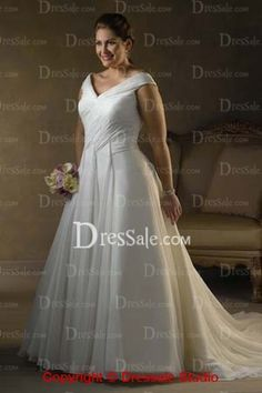 Sparkly White Chiffon V-neckline Plus Size Bridal Dress Features Drapes