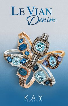 Le Vian combines signature Chocolate Diamonds with sapphire, topaz and tanzanite for distinctive rings that are the perfect gift for any denim-lover. Shop the collection at Kay Jewelers.