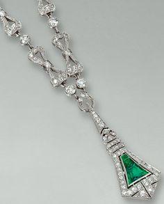 Emerald and diamond necklace, Tiffany & Co., circa 1910.