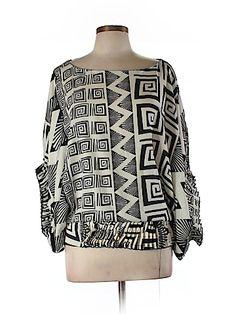Diane von Furstenberg Women 3/4 Sleeve Silk Top Size 10