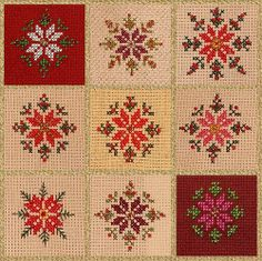 Mosaic of Cross Stitch Poinsettia with Beads by konnykards, via Flickr