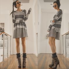 Oversized Boyfriend Sweater, Houndstooth Darling Dress, Chestnut Boots