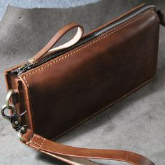 Handmade genuine leather handbag-Wristlet by FocusmanLeather
