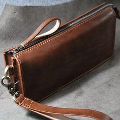 Handmade genuine leather handbag-Wristlet by FocusmanLeather