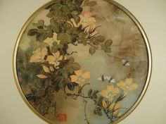 Vintage T.C. Chiu original Asian watercolor painting with Chinese flowers and bees. Beautiful floral art. Signed and framed decor. From VintageArtCafe.