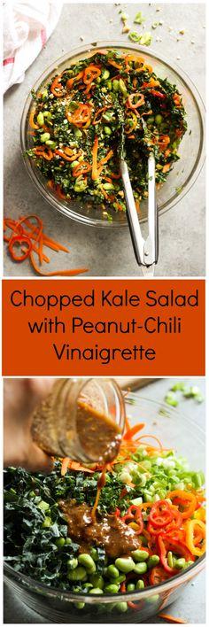 Chopped Kale Salad with Peanut-Chili Vinaigrette - kale, sweet peppers…