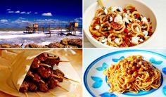 Best Italian dishes from each region - Abruzzo - From top right: Anelli alla pecorara, Maccheroni alla chitarra con pallottine and Arrosticini di capra