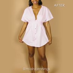 Here s how to transform a basic men s button up shirt into a cute plunging dress with some simple sewing! diy clothes sewing thrift outfit fashion dress tutorial es por eso que necesitamos abrazarnos ms seguido Diy Kleidung Upcycling, Robe Diy, Diy Clothes Design, Designing Clothes, Diy Clothes Refashion, Refashion Dress, Diy Clothes Videos, Plunge Dress, Clothing Hacks