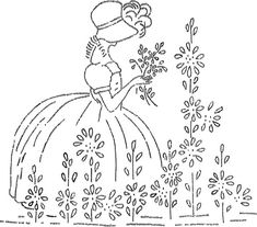 Sunbonnet Sue Down South Redwork Machine Embroidery
