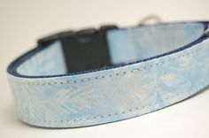 Custom Dog Collar - Blue Leaves - Handmade Fabric and Nylon Collar