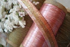 1y Vintage Metallic Stripe Pink Brown by VintageCottageFinds