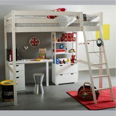 Chambre enfants on pinterest lit mezzanine loft beds and bunk bed - Lit mezanine 2 places ...
