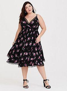 a7b58e4a980 Black Floral Lace Challis Midi Dress