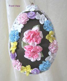 Satin Easter Egg Ornament EL109 by WhiteHawkOriginals on Etsy, $25.00