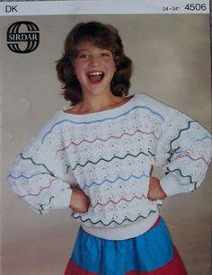 fefd37e7d3b50 Vintage   retro knitting pattern Sirdar 4506 girls DK sweater  Sirdar