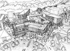 Conceptual Architecture, Parametric Architecture, Architecture Drawings, Futuristic Architecture, Architecture Plan, Landscape Architecture, Landscape Sketch, Urban Landscape, Landscape Design
