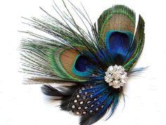 Blue Peacock Feather Hair Clip WEDDING Hair Piece Bridal Accessories Fascinator bridesmaid gift Bridal Shower. $36.00, via Etsy.