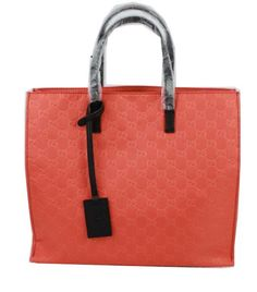 GUCCI Nylon and Leather GG Logo Shopping Tote Bag 355732 Light Red - $199.00