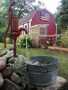 Small Barn with Chicken Run / Water Feature Garden - DIY Garten Landschaftsbau Country Barns, Country Living, Country Life, Old Water Pumps, Red Barns, Water Garden, Outdoor Projects, Backyard Landscaping, Landscaping Ideas