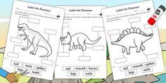 Label the Dinosaur Worksheets - dinosaur, label, worksheets
