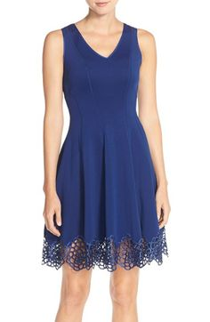 Maia Lace Accent Scuba Fit & Flare Dress available at #Nordstrom