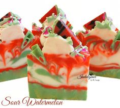 An amazing blend of sweet and sour mandarin oranges, pineapple, and wild watermelon. This soap fun swirly layers of green, red, and creamy white. The top is covered with hand piped soap, soap leaves,