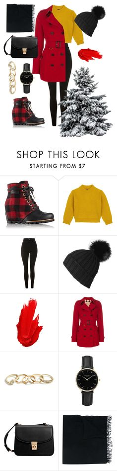 """Red and shoes"" by amandakatherine12 ❤ liked on Polyvore featuring SOREL, Comme Moi, Topshop, Black, Maybelline, Burberry, GUESS, ROSEFIELD, MANGO and Faliero Sarti"
