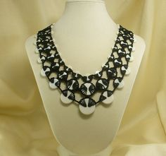 Crochet Black and White Bib Vintage Button Necklace by Jeans Jewelry & Things, via Flickr