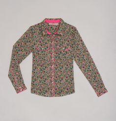 "Shirt ""La Cerise sur le Gâteau"" pour Monoprix... I like the combination of Liberty Fabric and Fluo pink bias... I have to have it!!! :)"