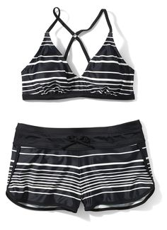 """""""A bare top and low-slung board shorts show off my abs while hiding my thighs. And I can play with my 5-year-old without feeling exposed."""" —Samantha, 44. Athleta, top, $59, bottom, $54; athleta.com. - Redbook.com"""