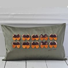 Papilio Cushion - Olive Green & Burnt Orange {Available in other colours or why not commission a bespoke colour} Hand Printed Fabric, Handmade Cushions, Green Silk, Burnt Orange, Olive Green, Colours, Bespoke, Butterflies, Autumn