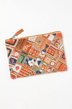 patchwork sequined clutch